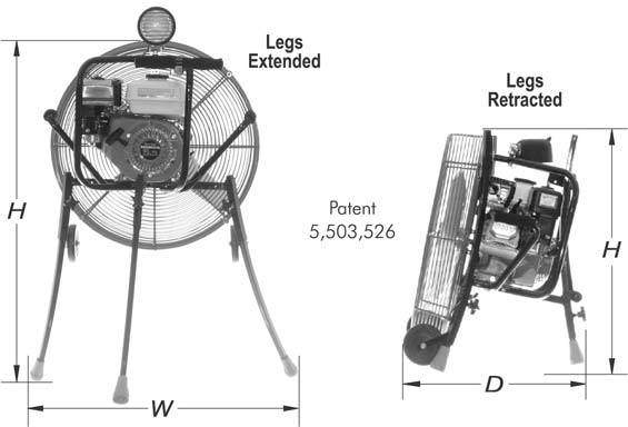 Dimensions diagram of fans with legs extended and retracted. Patent 5503526.